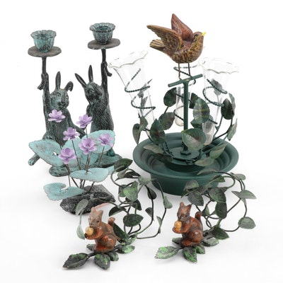 Petite Choses Tole Bird Epernge with other Animal Candlesticks and Decor