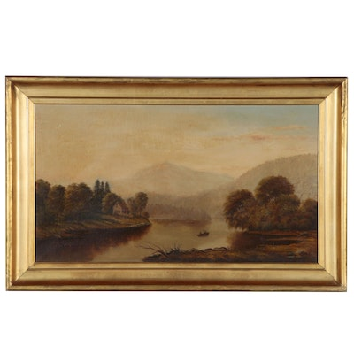English School Landscape Oil Painting, Late 19th Century