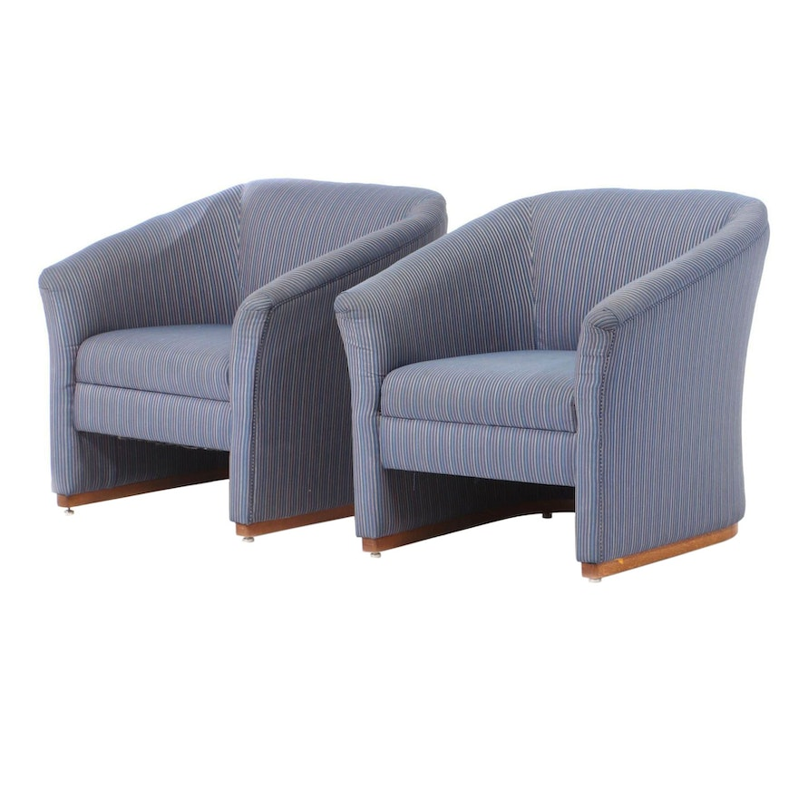Carolina Seating Co. Upholstered Barrel Back Arm Chairs, Late 20th Century