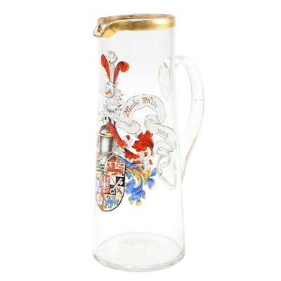 Bavarian Hand-Painted Glass Beer Pitcher Featuring Coat of Arms