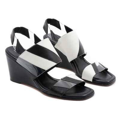 Donald/Pliner Black and White Leather Ankle Strap Levie Wedge Sandals