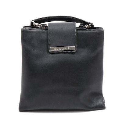 Bulgari Black Leather Backpack