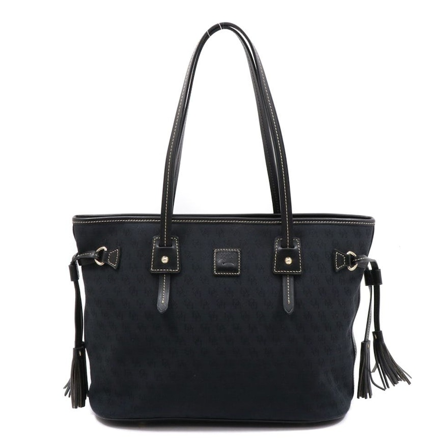 Dooney & Bourke Monogram Canvas and Leather Tote Bag with Tassels