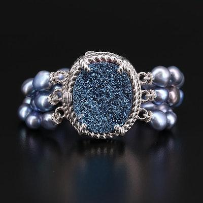 Judith Ripka Sterling Multi-Strand Pearl Bracelet with Druzy Closure