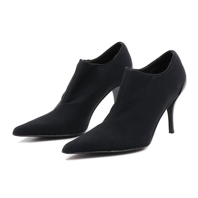 Donald J Pliner Black Slip-On Pointed Toe High Heel Booties