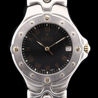 18K Gold and Stainless Steel Ebel Sportwave Quartz Wristwatch