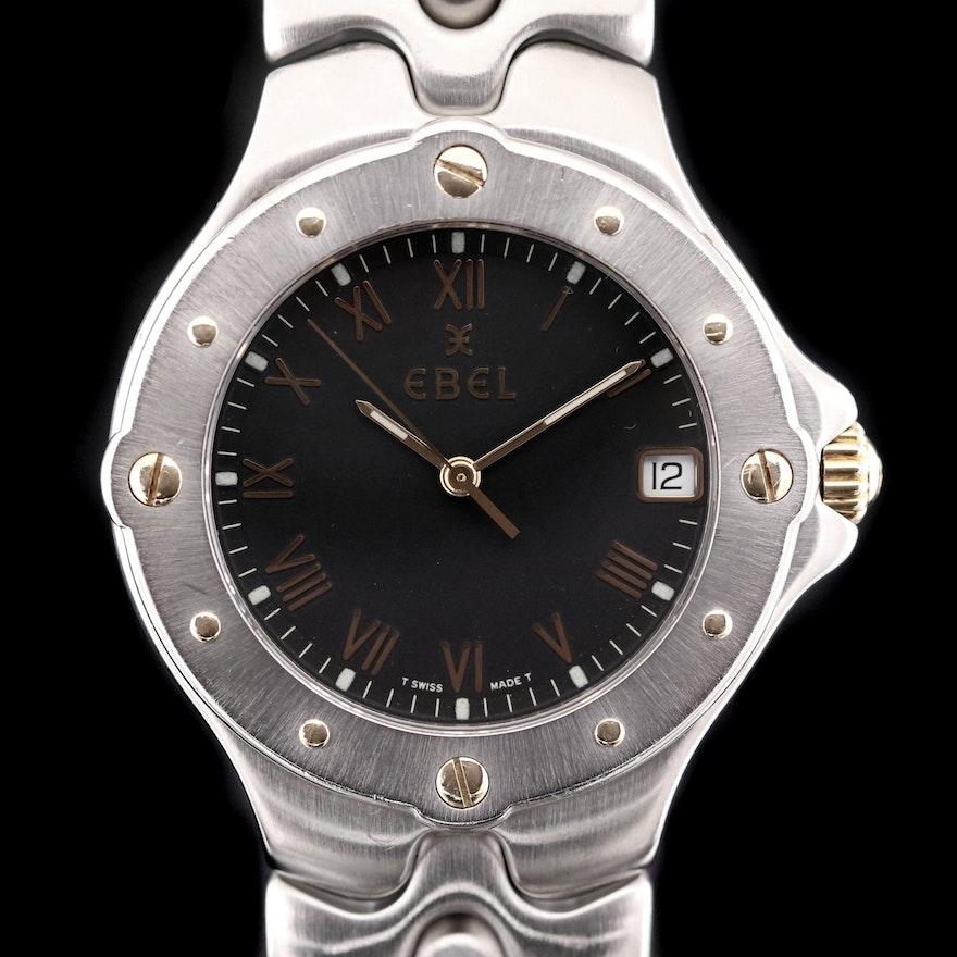 18K Gold and Stainless Steel Ebel Sportwave Quartz Wristwatch