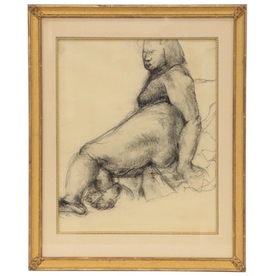Figural Charcoal Drawing, Mid to Late 20th Century