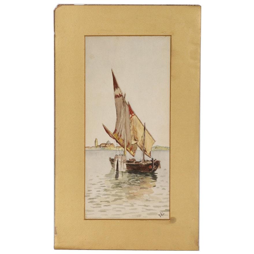 Venetian Harbor Scene Watercolor Painting after Antonio María de Reyna Manescau