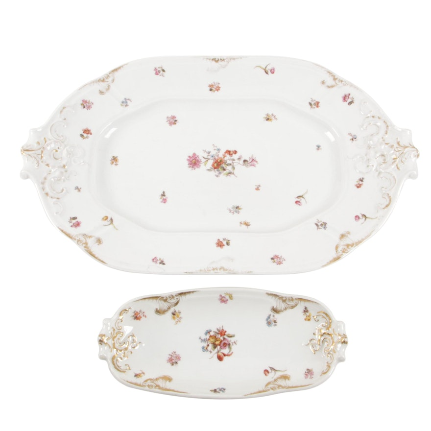 Jean Pouyat of Limoges Porcelian Serving Platter and Relish Dish, Early 20th C.