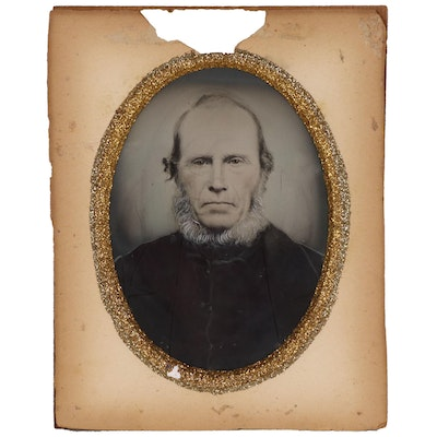 Hand Tinted Tintype Cabinet Card Portrait, Late 19th Century