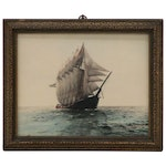 "Fred Thompson Hand Tinted Silver Print Photograph ""Schooner Gertrude Lawrence"""