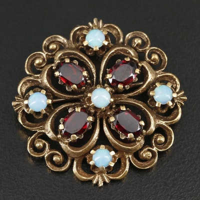 Victorian Style 14K Yellow Gold Opal and Garnet Brooch