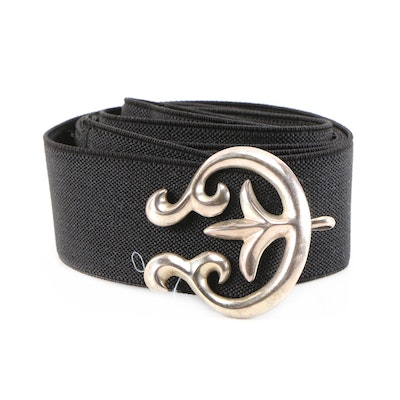 Sterling Silver Fleur-de-lis Motif Belt Buckle with Black Canvas Strap