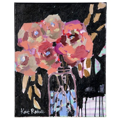 "Kait Roberts Acrylic Painting ""A Season of Waiting for These Blooms"", 2019"