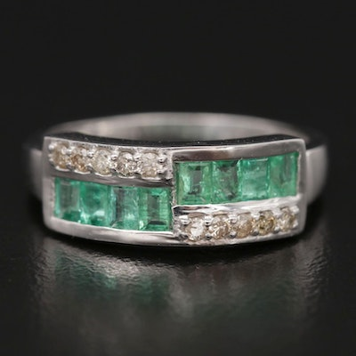 Sterling Silver Emerald and Diamond Ring