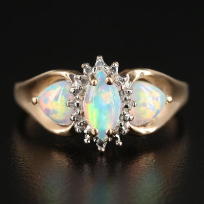 10K Yellow Gold Synthetic Opal Ring with Diamond Accents