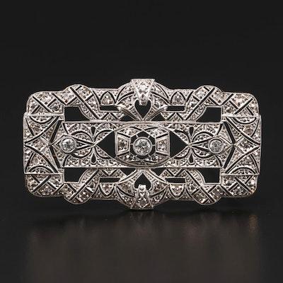 Art Deco Platinum and 18K Gold Diamond Brooch