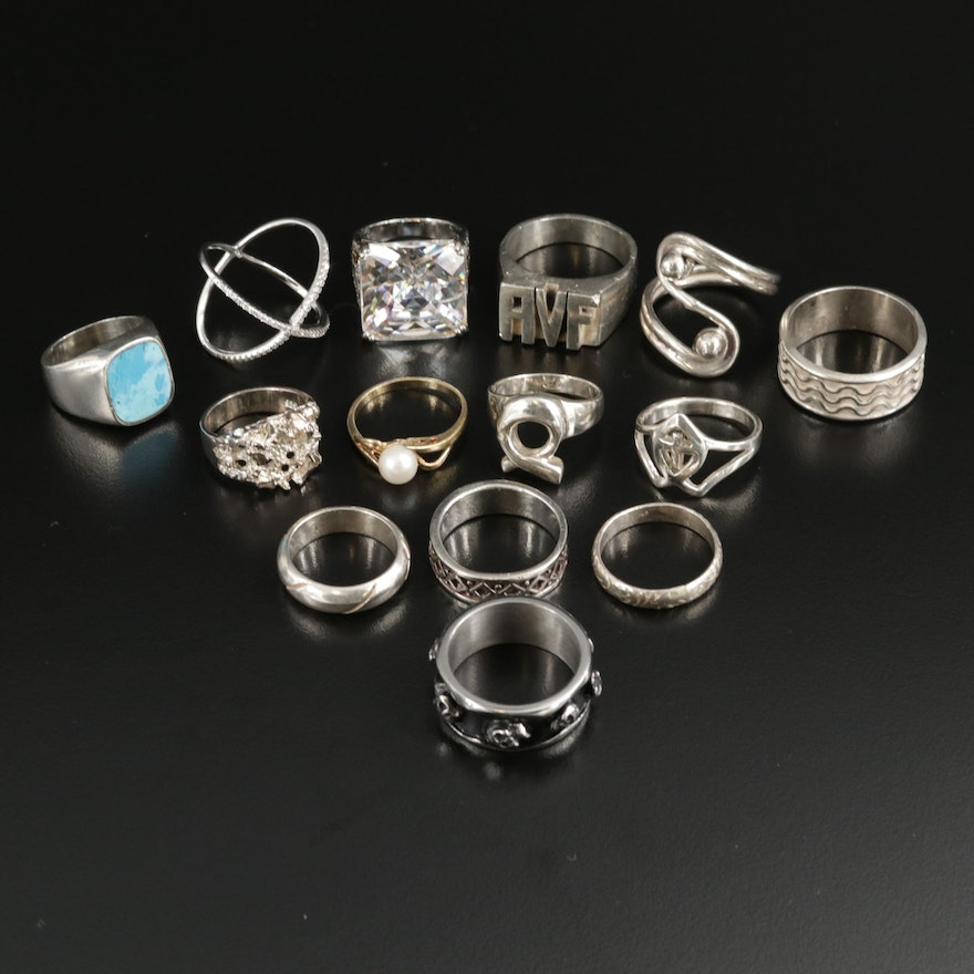 Collection of Sterling Silver Rings Including Cultured Pearl and Turquoise