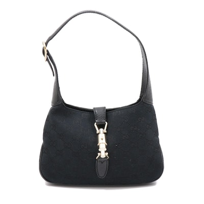 Gucci Jackie Piston Lock Shoulder Bag in Black GG Canvas and Leather