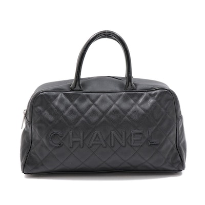 Chanel Black Quilted Caviar Leather Top Handle Satchel with Patent Leather Trim