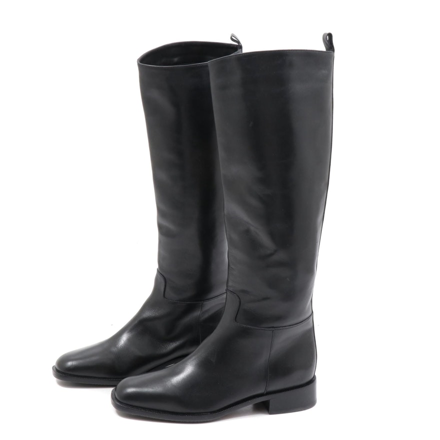 Bally Black Leather Riding Boots with Stacked Heel