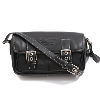 Coach Black Leather Buckle Flap Crossbody Bag with Contrast Stitching
