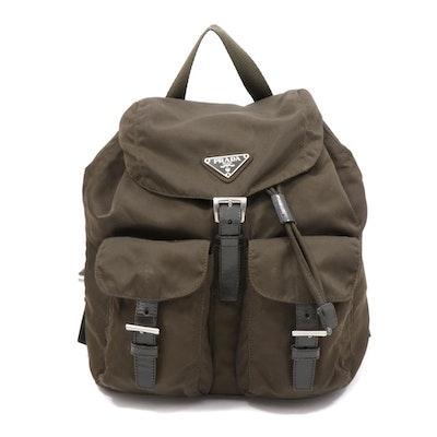 Prada Olive Green Tessuto Nylon and Leather Mini Backpack Purse