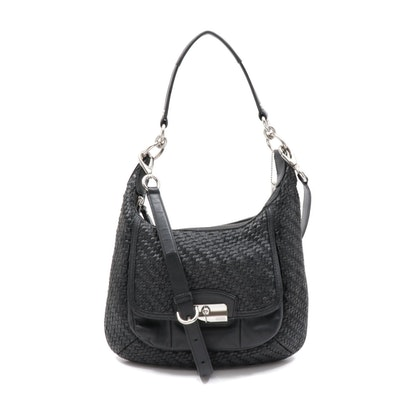 Coach Kristin Black Woven Leather Shoulder Bag