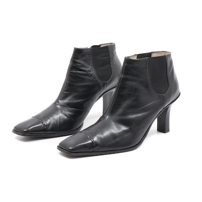 Chanel Black Leather Square Toe Ankle Booties with Elastic Side Panels