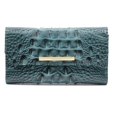 Brahmin Crocodile Embossed Teal Leather Continental Wallet
