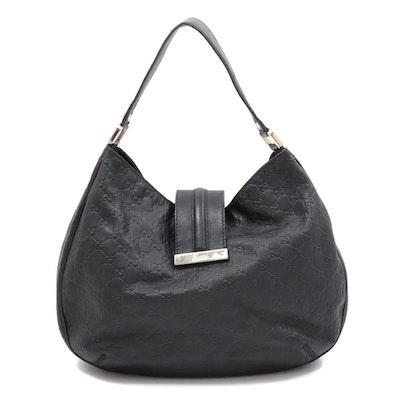 Gucci GG Guccissima Black Leather Structured Hobo Purse