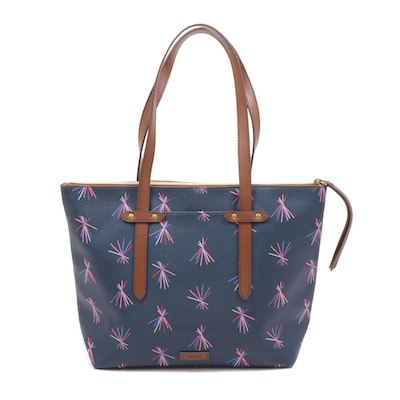 Fossil Printed Leather Zip-Top Tote Bag