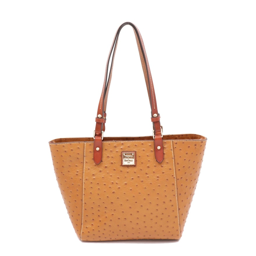 Dooney & Bourke Ostrich Embossed Two-Tone Leather Tote Bag
