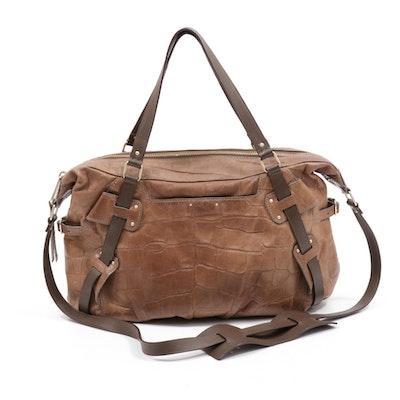 Botkier Crocodile Embossed Brown Leather Shoulder Bag