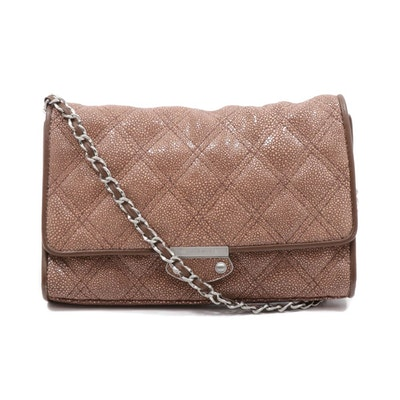 Judith Ripka Quilted Shagreen Print Leather and Chain Crossbody