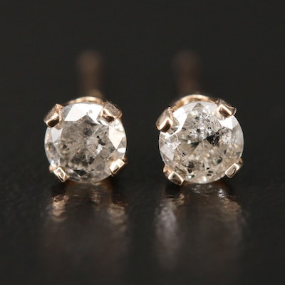 14K Yellow Gold 0.32 CTW Diamond Solitaire Studs