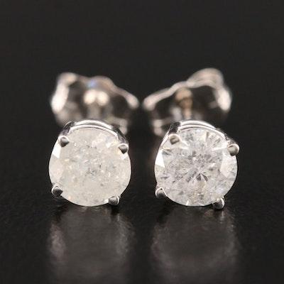 14K White Gold 0.98 CTW Diamond Solitaire Stud Earrings