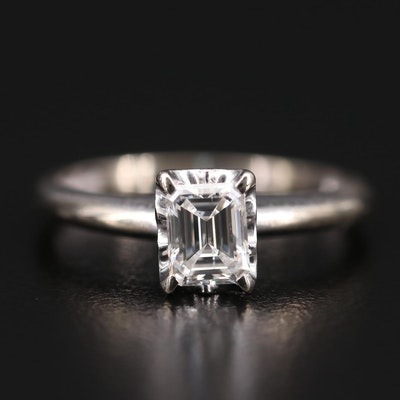 14K White Gold 0.61 CT Diamond Solitaire Ring