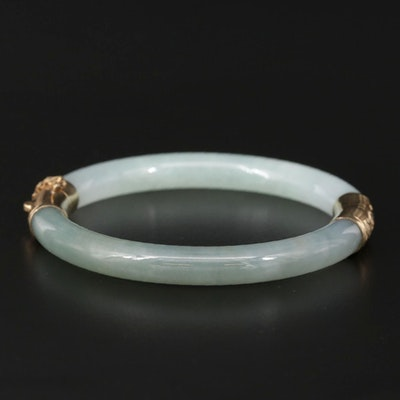 Carved Jadeite Hinged Bangle with 14K Findings
