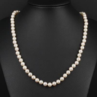 Individually Knotted Strand of Pearls with 14K Yellow Gold Clasp