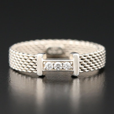 """Tiffany & Co. """"Somerset"""" Collection Sterling Diamond Ring"""
