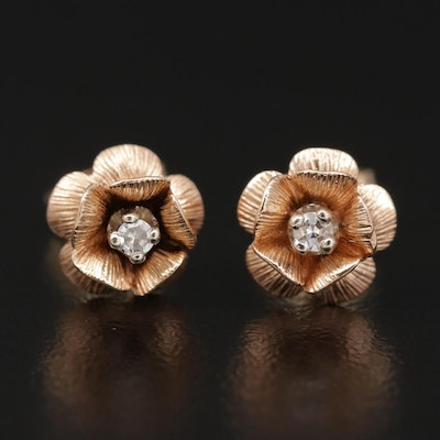 14K Rose and Yellow Gold Diamond Flower Stud Earrings