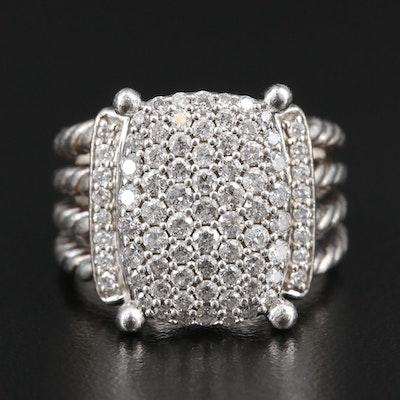 "David Yurman ""Wheaton"" Sterling Silver 1.24 CTW Diamond Ring"