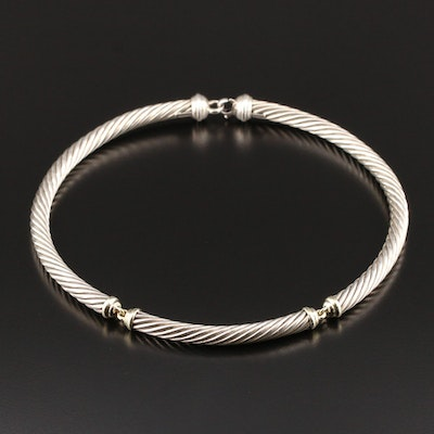 David Yurman Cable Collection Sterling Necklace with 14K Gold Accents