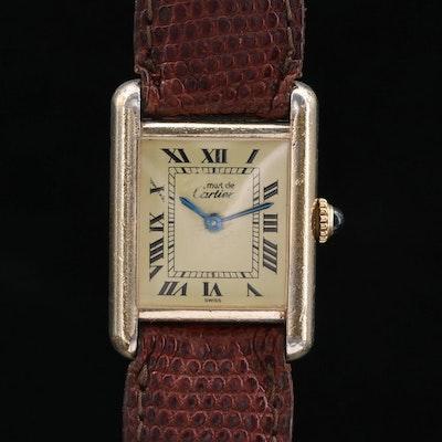 Vintage Cartier Tank Vermeil Stem Wind Wristwatch, Circa 1983