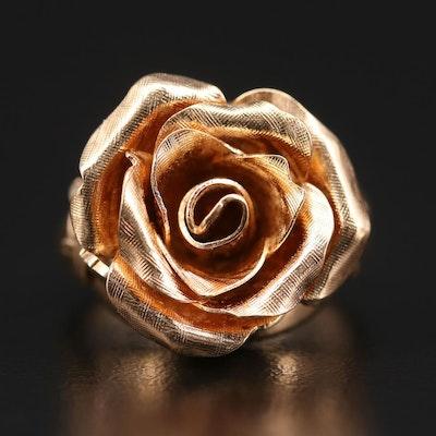 14K Yellow Gold Ring Featuring Rose Motif