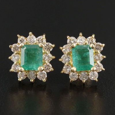 18K Yellow Gold Emerald and Diamond Stud Earrings With 14K Gold Backs