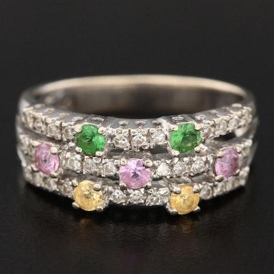 14K White Gold Sapphire, Tsavorite and Diamond Multi-Row Ring
