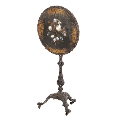 Victorian Mother-of-Pearl Inlaid Cast-Iron Tilt-Top Table, Prob. Coalbrookdale
